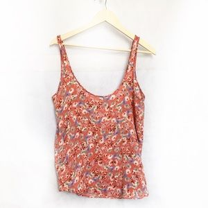 Free People Floral Scoop Neckline Top Size Small